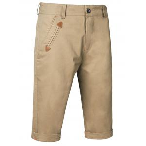 Zipper Fly Casual Shorts - Khaki - 30