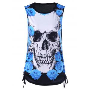 Sleeveless Skull and Rose Print T-Shirt
