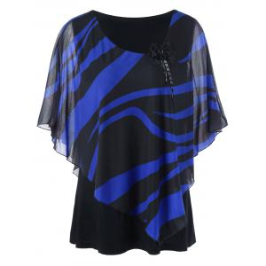 Scoop Neck Stripe Mesh Panel Plus Size Top