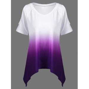 Plus Size Cold Shoulder Ombre T-Shirt - White + Purple - 4xl