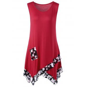 Flounced Plus Size Extra Long Tank Tops - Red - Xl