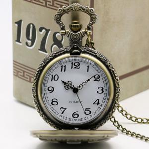 Vintage DAD Carving Quartz Pocket Watch - COPPER COLOR