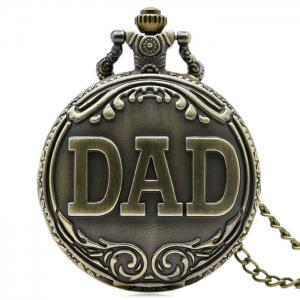 Vintage DAD Carving Quartz Pocket Watch