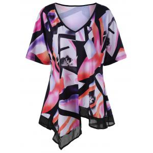 Asymmetric Printed V Neck Top - Colormix - 4xl