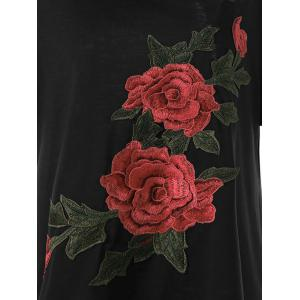 Embroidered Floral Plus Size T-Shirt - EBONY XL