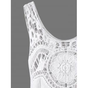 Crochet Lace Hollow Out Tank Top - WHITE ONE SIZE