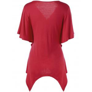 Smocked Butterfly Sleeve Asymmetric Top - RED M