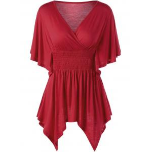 Smocked Butterfly Sleeve Asymmetric Top