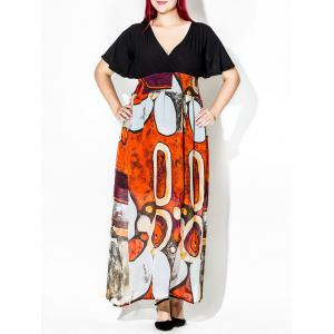 Printed Plus Size Maxi Dress with Short Sleeves