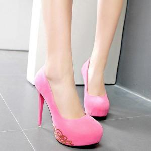 Metal Embellishment Mini Heel Pumps - Pink - 38