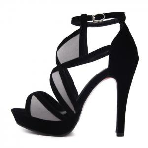 Color Block Buckle Strap Sandals - BLACK 37