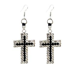 Rhinestone Cross Drop Earrings