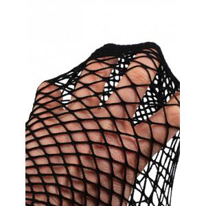 Fish Net Plain Ankle Socks - BLACK