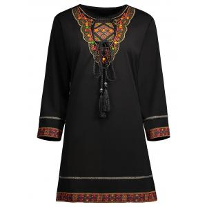 Beaded Embroidered Plus Size Top - Black - 4xl