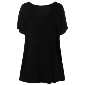 Plus Size Rose Tunic Flowing Top - BLACK 5XL