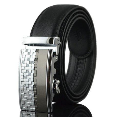 New Alloy Checked Emboss Buckle Faux Leather Belt SILVER