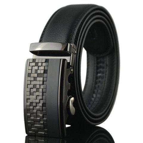 Store Alloy Checked Emboss Buckle Faux Leather Belt BLACK