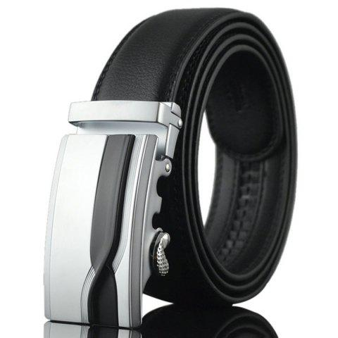 Buy Geometric Polishing Automatic Buckle Wide Belt