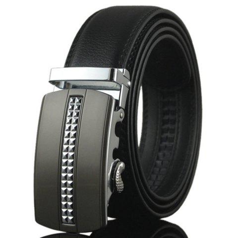 Buy Tiny Plaid Automatic Buckle Artificial Leather Belt SILVER