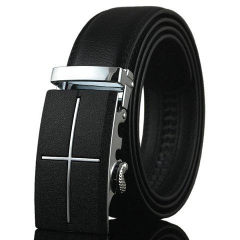 Hot Metal Cross Automatic Buckle Faux Leather Belt