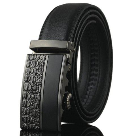 Online Carved Spliced Alloy Automatic Buckle Belt - BLACK  Mobile