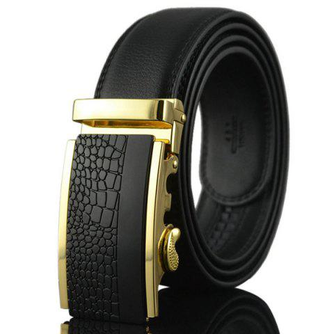 Latest Alloy Rectangle Engraved Automatic Buckle Belt - BLACK AND GOLDEN  Mobile