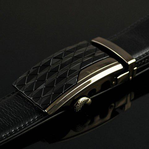 Chic Striped Rhombus Automatic Buckle Wide Belt - BLACK  Mobile