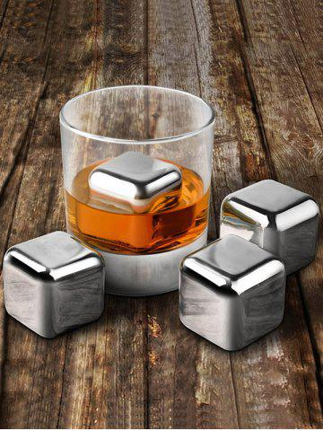 Shop Whiskey Beer Wine Stone Stainless Steel Ice Cubes Set - 6PCS/SET SILVER Mobile