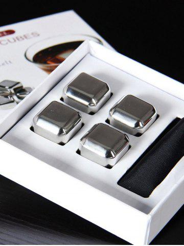 Shops Whiskey Beer Wine Stone Stainless Steel Ice Cubes Set - 6PCS/SET SILVER Mobile