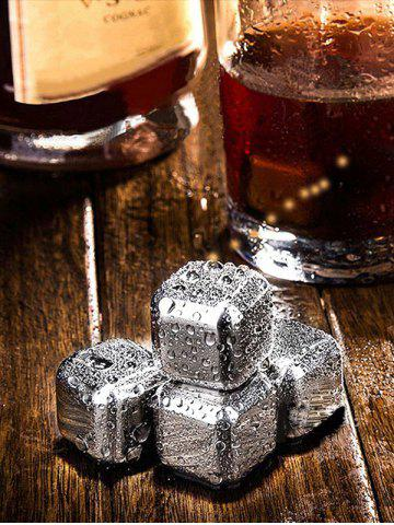 Best Whiskey Beer Wine Stone Stainless Steel Ice Cubes Set - 6PCS/SET SILVER Mobile