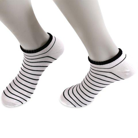 Outfit Pinstripe Patterned Elastic Knitting Ankle Socks - WHITE  Mobile