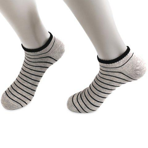Pinstripe Patterned Elastic Knitting Ankle Socks - Light Gray