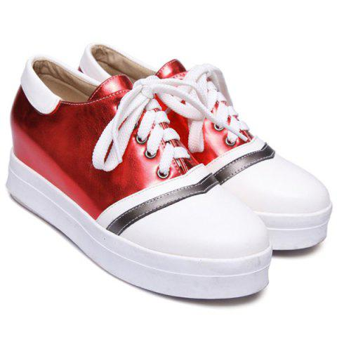 Buy Color Block PU Leather Athletic Shoes - 39 RED Mobile