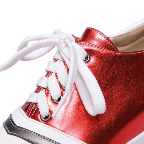 Outfits Color Block PU Leather Athletic Shoes - 39 RED Mobile