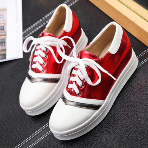Trendy Color Block PU Leather Athletic Shoes - 39 RED Mobile
