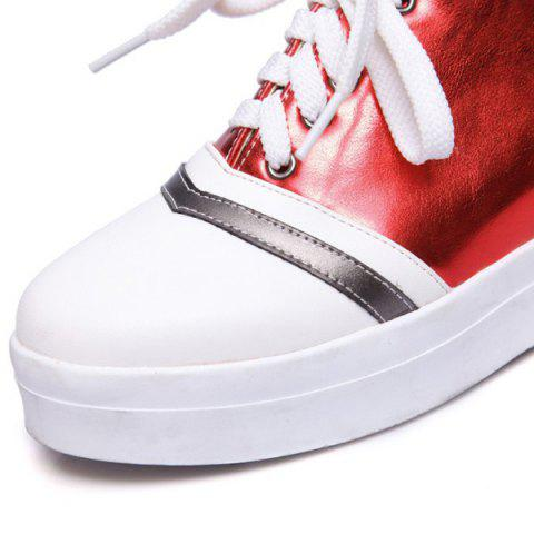 Shops Color Block PU Leather Athletic Shoes - 39 RED Mobile