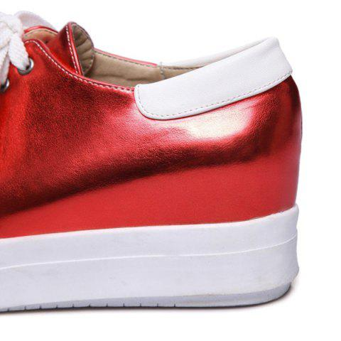 Fancy Color Block PU Leather Athletic Shoes - 39 RED Mobile