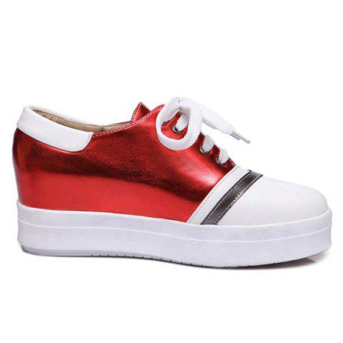 Fashion Color Block PU Leather Athletic Shoes - 39 RED Mobile