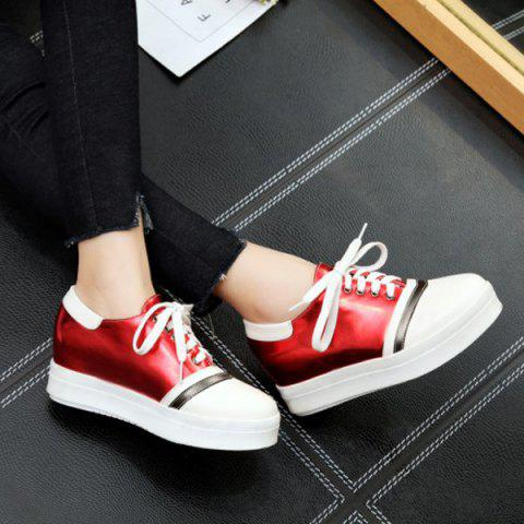 Outfit Color Block PU Leather Athletic Shoes - 39 RED Mobile