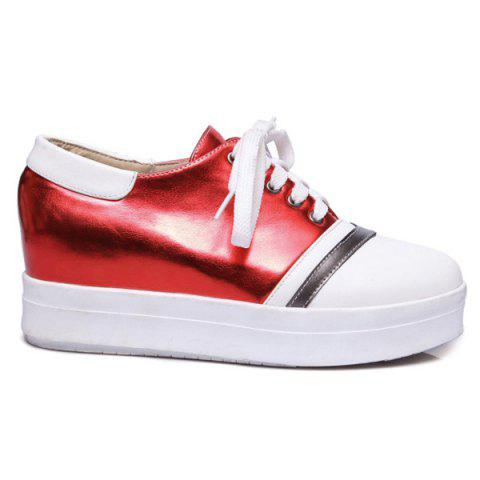 Unique Color Block PU Leather Athletic Shoes - 39 RED Mobile
