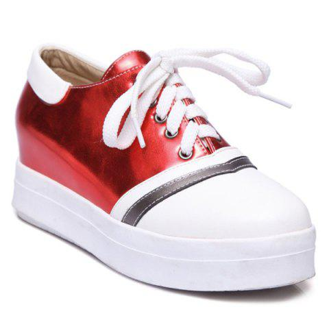 Cheap Color Block PU Leather Athletic Shoes - 39 RED Mobile