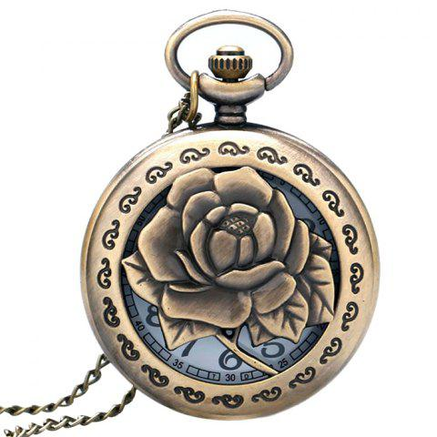 Rose Flower Carving Vintage Pocket Watch - Bronze-colored