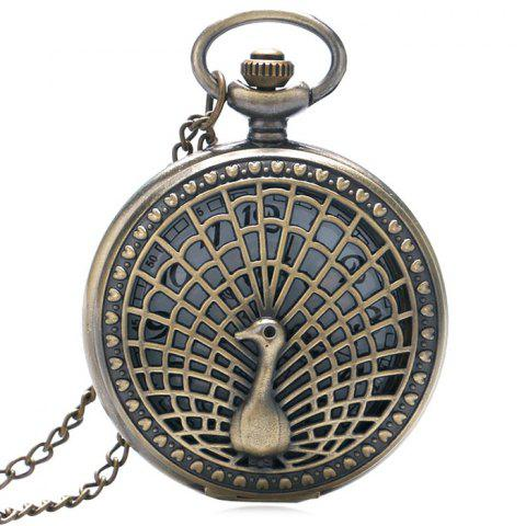 Fancy Peacock Carving Vintage Quartz Pocket Watch - COPPER COLOR  Mobile