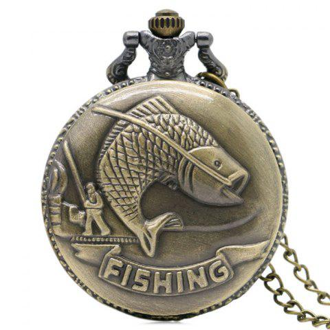 Fishing Carving Vintage Quartz Pocket Watch - Copper Color