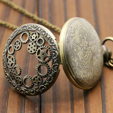 Trendy Hollow Out Gear Vintage Pocket Watch - BRONZE-COLORED  Mobile