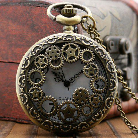 Fancy Hollow Out Gear Vintage Pocket Watch - BRONZE-COLORED  Mobile