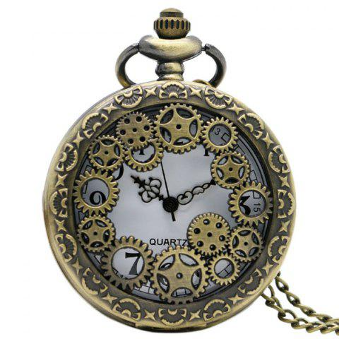 Hollow Out Gear Vintage Pocket Watch - Bronze-colored