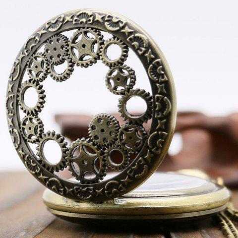 Affordable Hollow Out Gear Vintage Pocket Watch - BRONZE-COLORED  Mobile