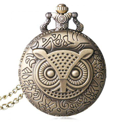 Trendy Carved Owl Number Vintage Pocket Watch COPPER COLOR