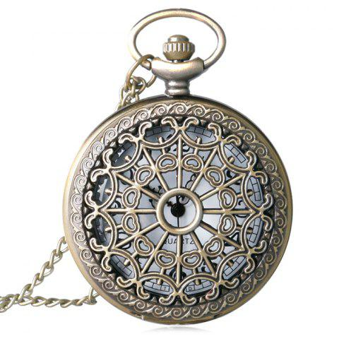 Hollow Out Vintage Quartz Pocket Watch - Copper Color